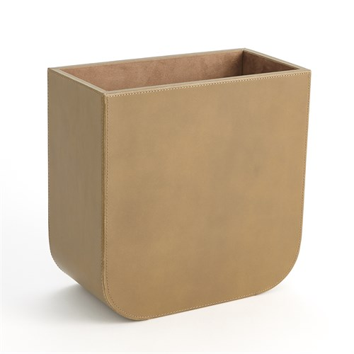 Radius Edge Leather Wastebasket-Putty