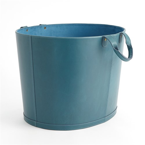 Oversized Oval Leather Basket-Azure