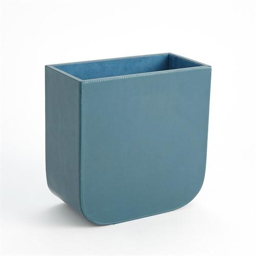 Radius Edge Leather Wastebasket-Azure