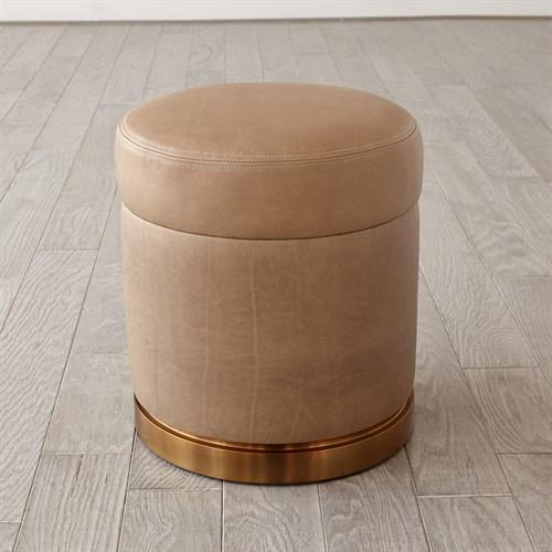 Latitudes Leather Round Ottoman