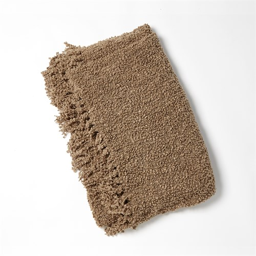 Textured Boucle Throw-Olive