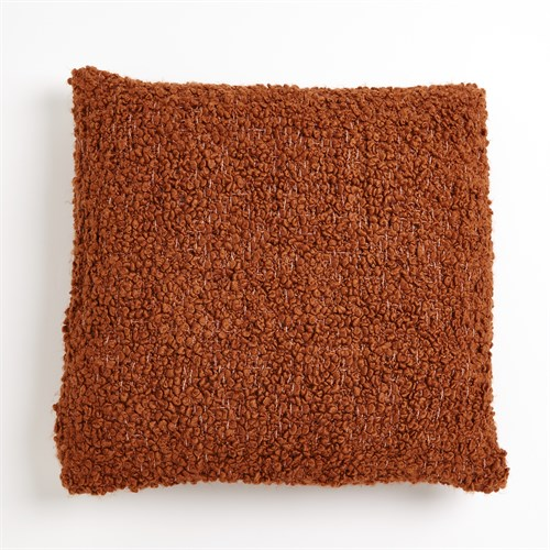 Textured Boucle Pillow-Rust
