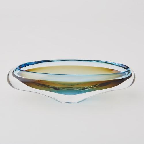 Canoe Bowl-Turquoise & Beige