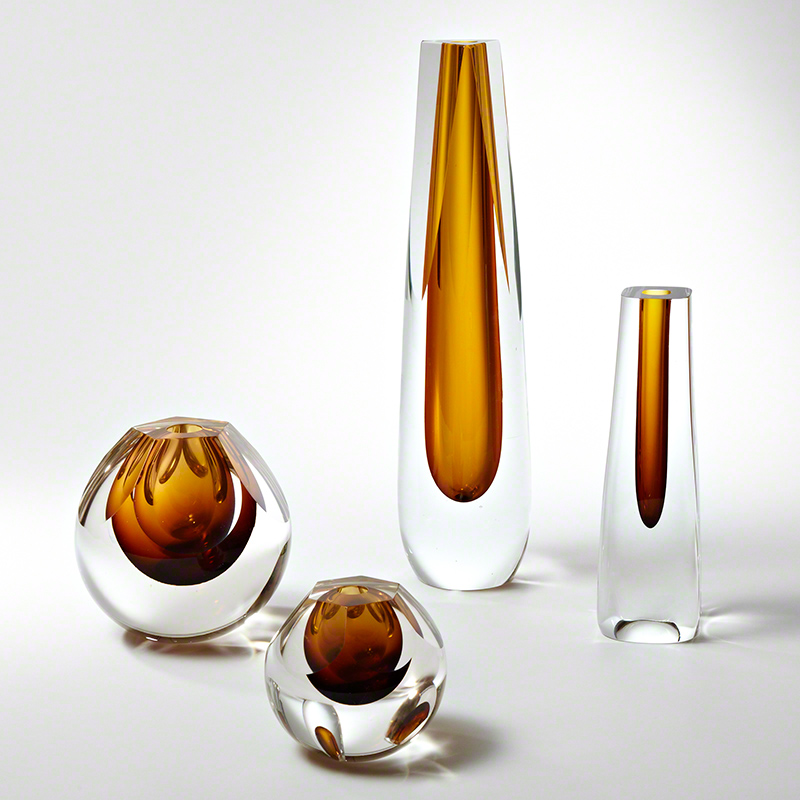 Triangle Cut Glass Vase-Amber