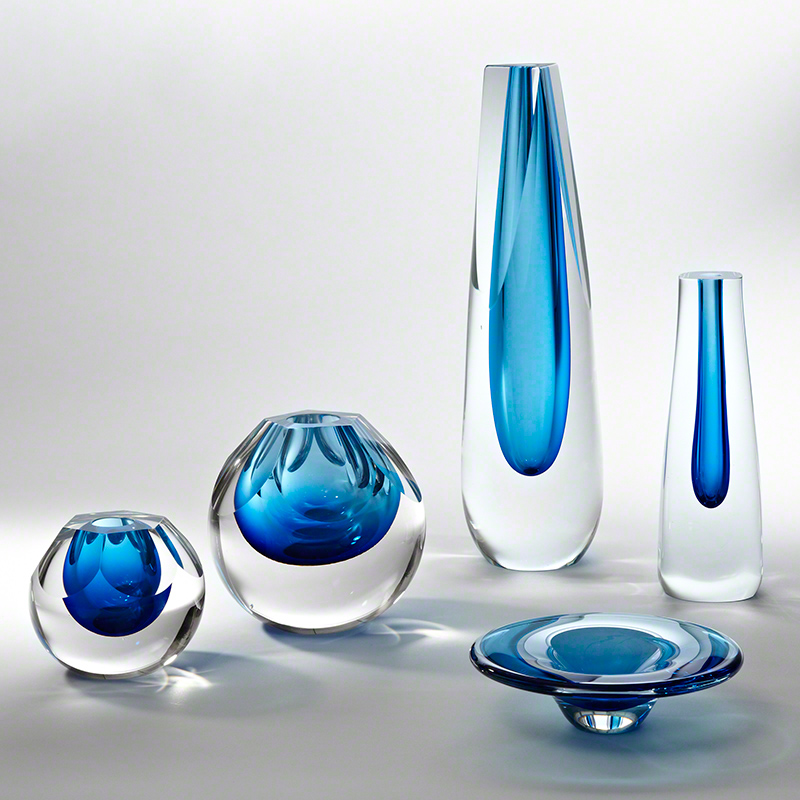 Triangle Cut Glass Vase-Cobalt