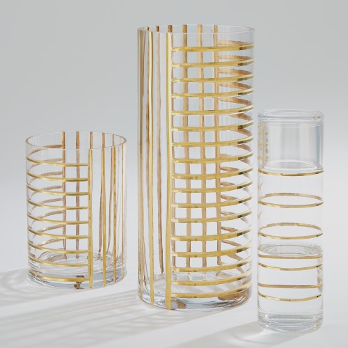 Glass Grid Vase-Gold