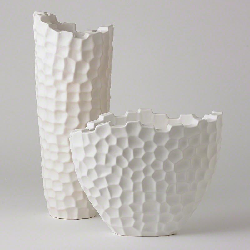 Random Grid Vases-Matte White