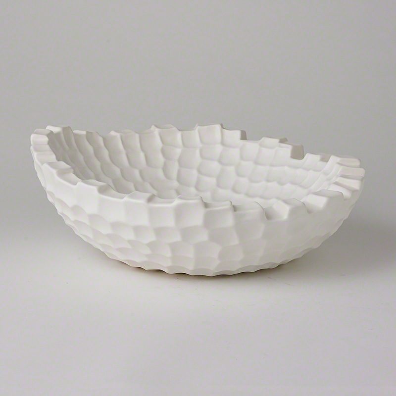Random Grid Bowl-Matte White