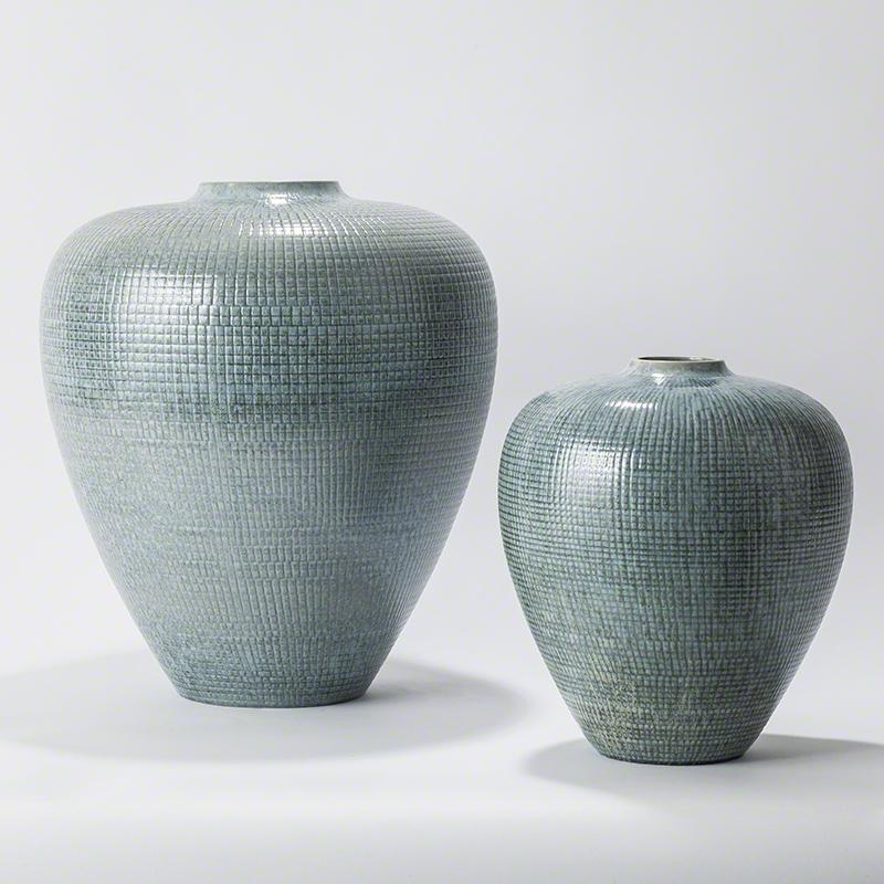 Bulbous Vases-Reactive Silver Blue