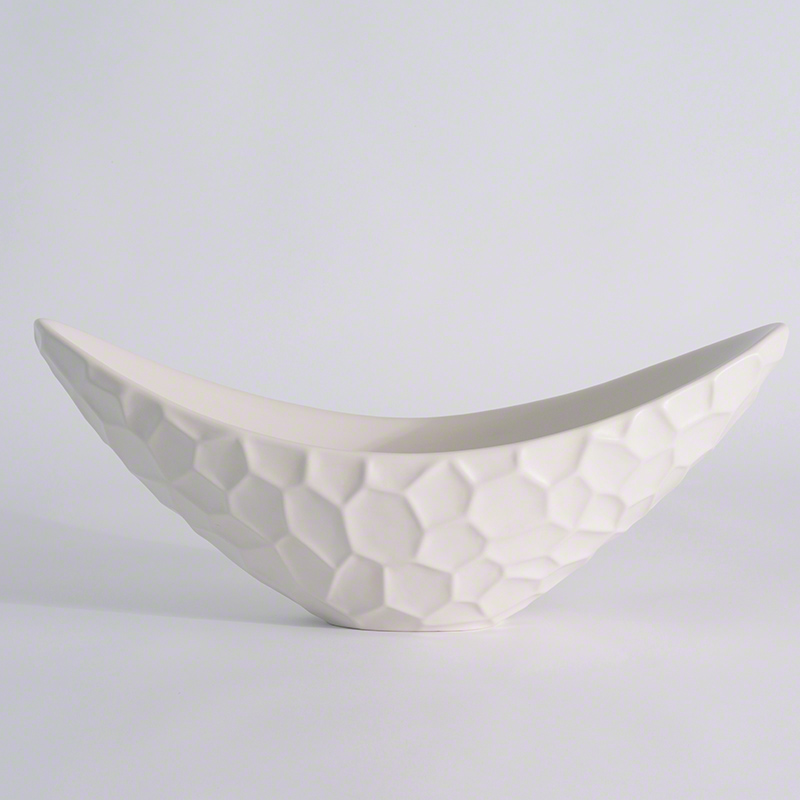 Honeycomb Long Bowl-Matte White