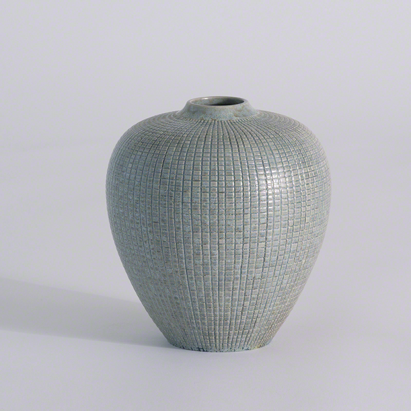 Mini Check Bulbous Vase-Reactive Silver Blue