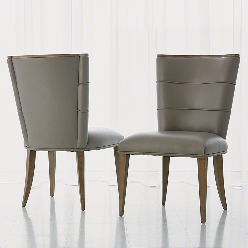 Adelaide Side Chair-Grey Leather
