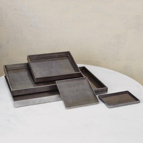 Gunmetal Silver Leaf Rectangle Tray