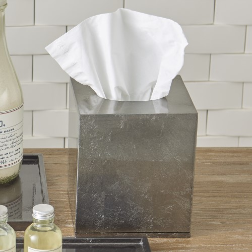 Gunmetal Silver Leaf Tissue Box