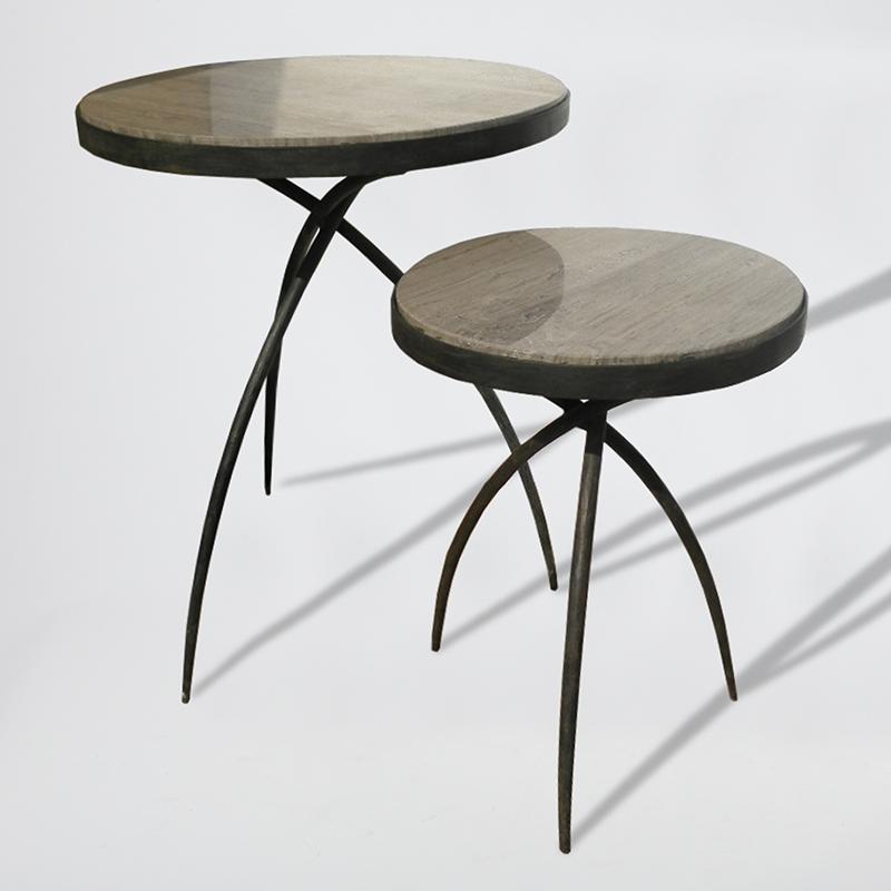 Tri-Pod Tables w/Grey Marble Top