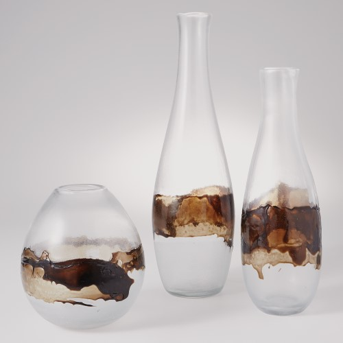 Molten Glass Vase-Clear & Topaz