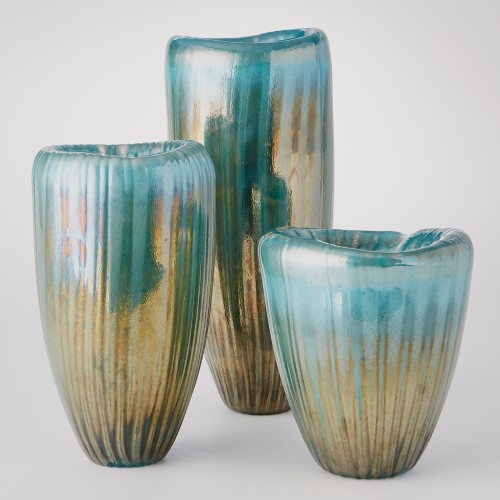 Tear Drop Folded Vase-Turquoise/Metallic