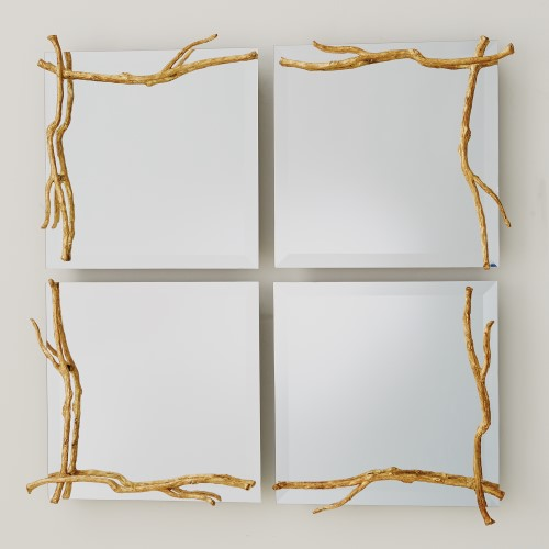 Twig Mirror-Gold Leaf