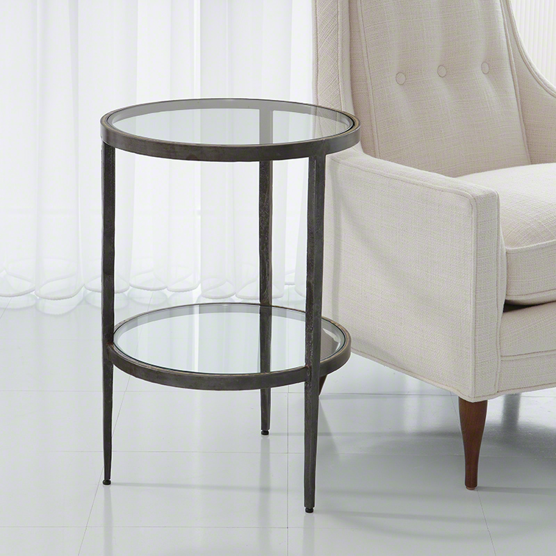 Laforge Two Tiered Side Table-Iron & Braised Brass