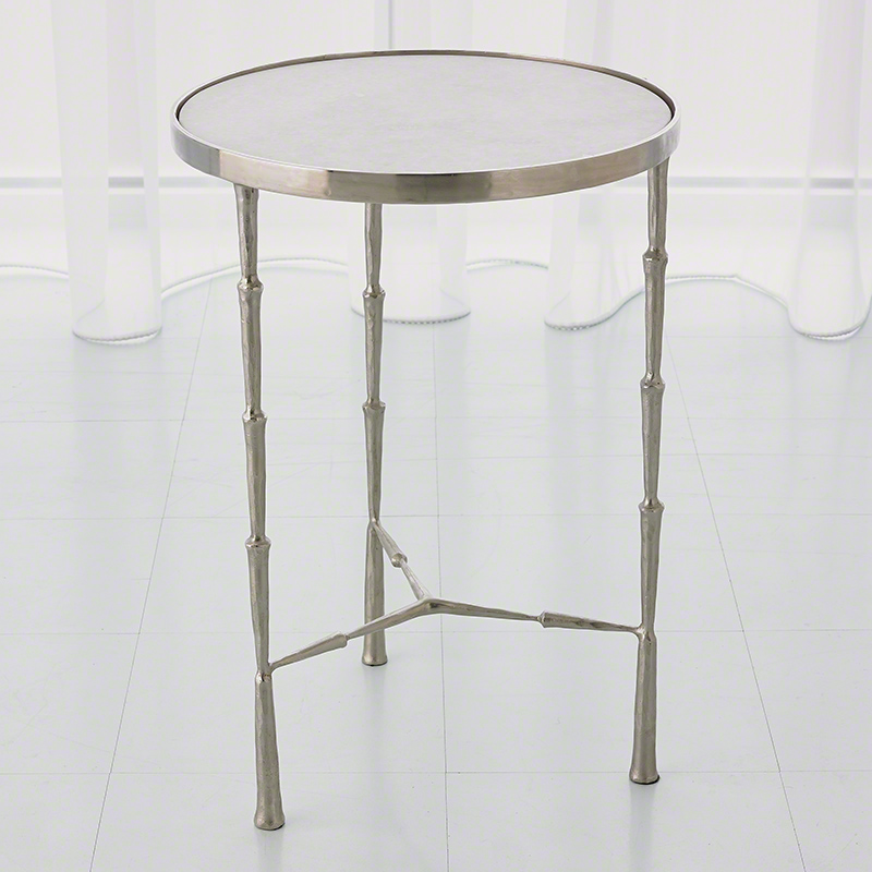 Spike Accent Table-Antique Nickel w/White Marble Top