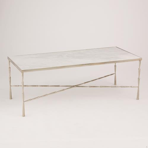 Spike Cocktail Table-Antique Nickel w/White Marble