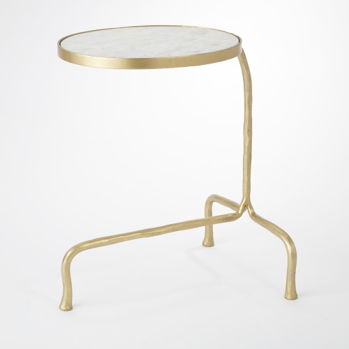Cantilever Table-Brass w/White Marble Top