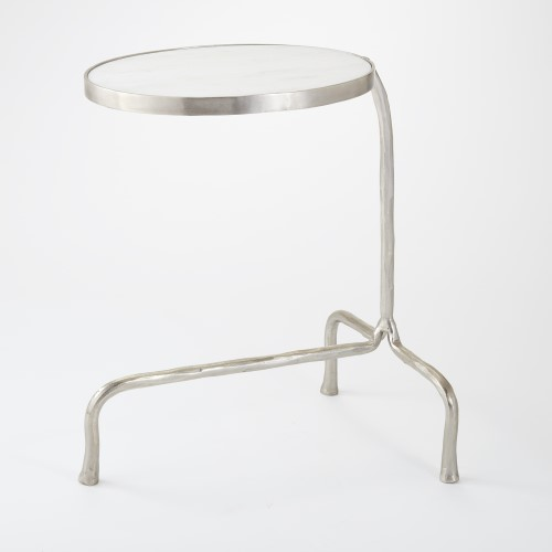 Cantilever Table-Nickel w/White Marble Top