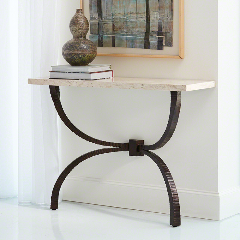 Teton Console-Bronze w/Travertine Top