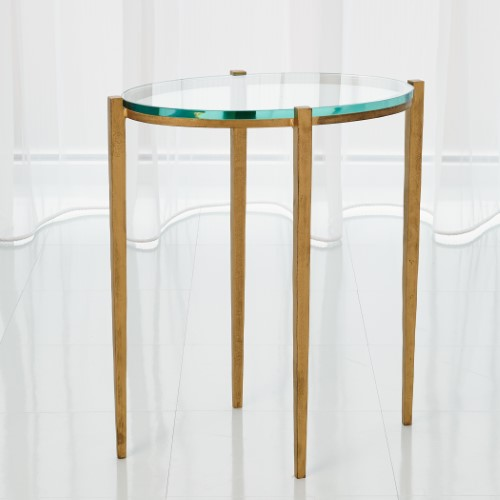 Petite Oval Accent Table-Antique Gold