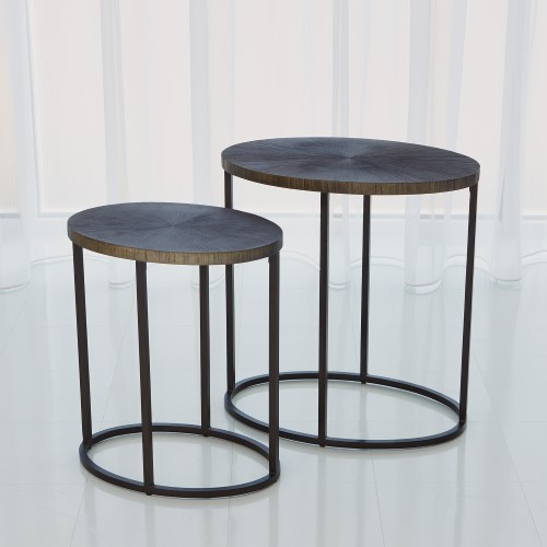 Striated Accent Table-Graphite