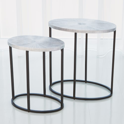 Striated Accent Table-Nickel