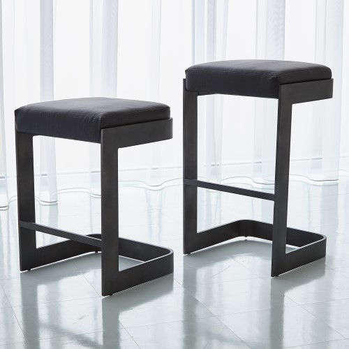 Regan Barstool w/Black Leather-Graphite