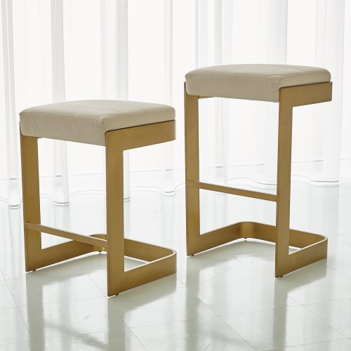 Regan Barstool w/Ivory Leather-Antique Brass