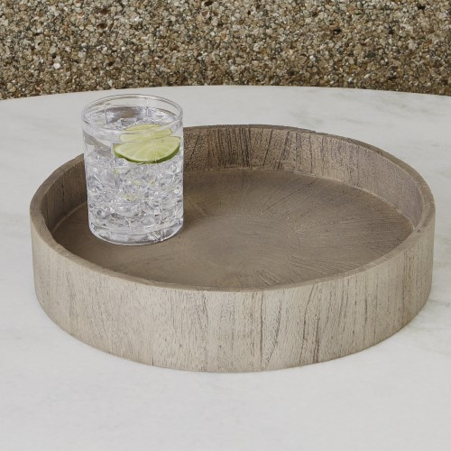 Driftwood Round Topper Tray-Grey