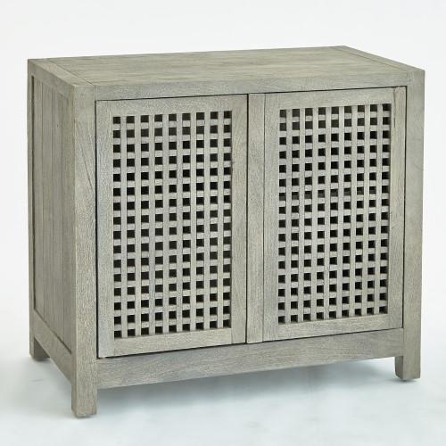 Driftwood Lattice 2-Door Cabinet-Grey
