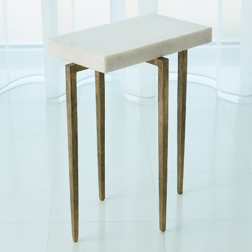 Laforge Accent Table-Antique Gold w/White Honed Marble