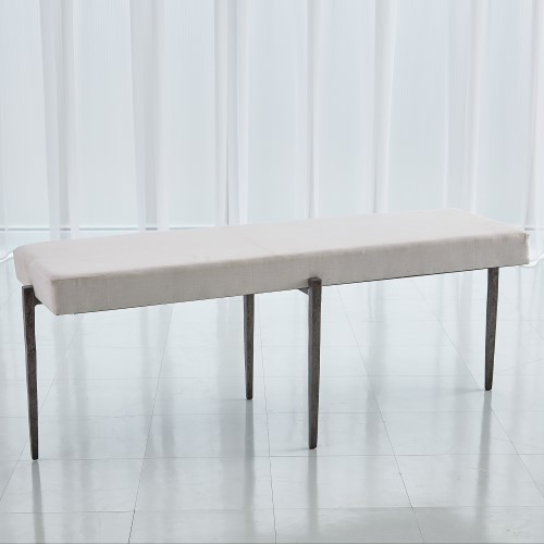 Laforge Bench-Natural Iron w/Muslin Cushion