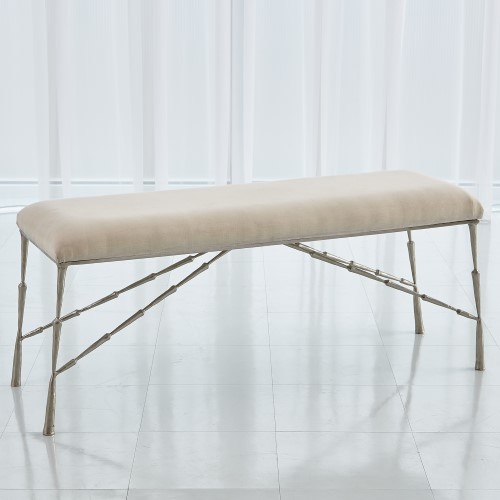 Spike Bench-Antique Nickel w/ Muslin Cushion