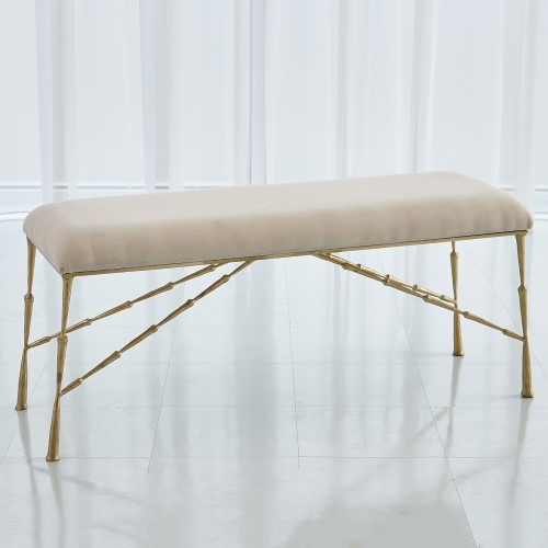 Spike Bench w/Muslin Cushion-Antique Brass-Lg
