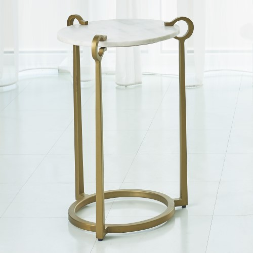Round Clamp Accent Table-Brass w/White Marble