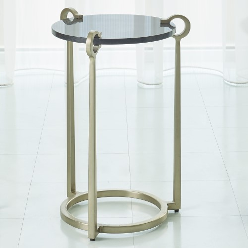 Round Clamp Accent Table-Nickel w/Black Granite