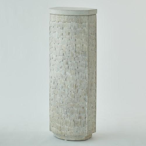 Shingles Pedestal-White w/White Terrazzo