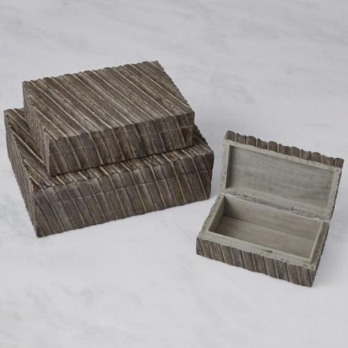 Tara Carved Box-Grey
