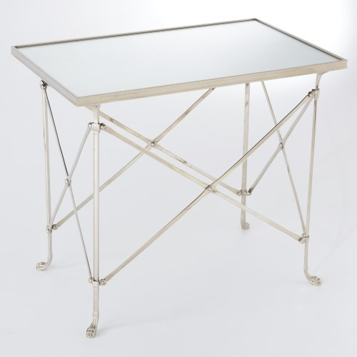 Rectangular Directoire Table-Nickel w/Mirror Top