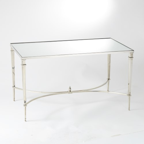 French Square Leg Cocktail Table-Nickel w/Mirror T