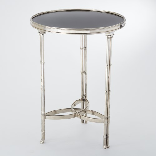 Double Bamboo Leg Accent Table-Nickel & Black Granite