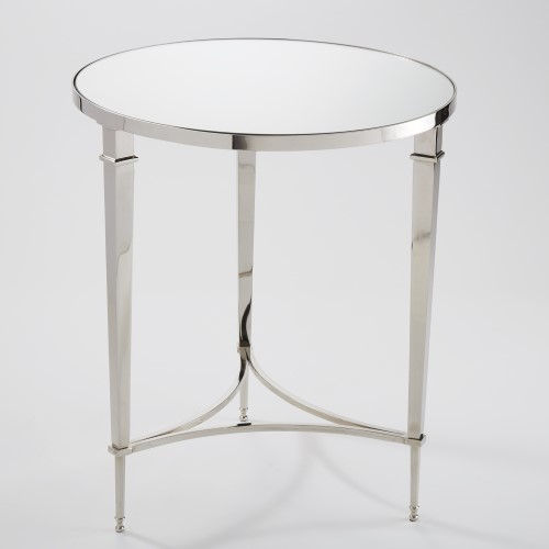 Round French Square Leg Table-Nickel