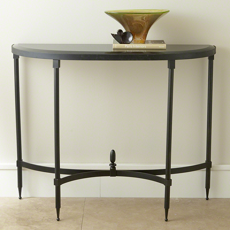 Fluted Iron Collection Console w/Granite Top