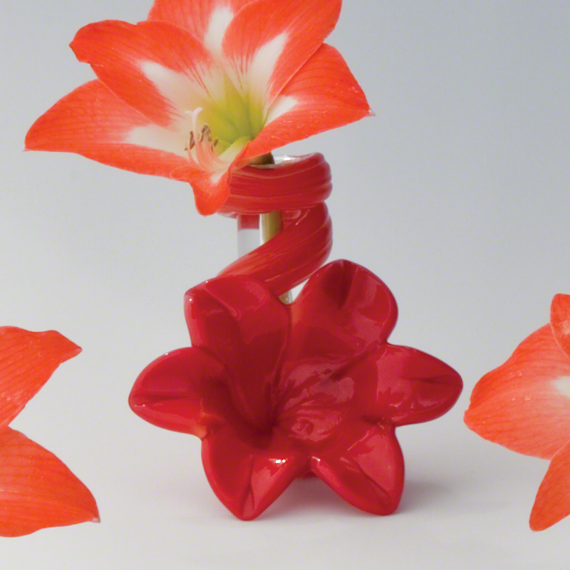 Red Lily Bud Vase