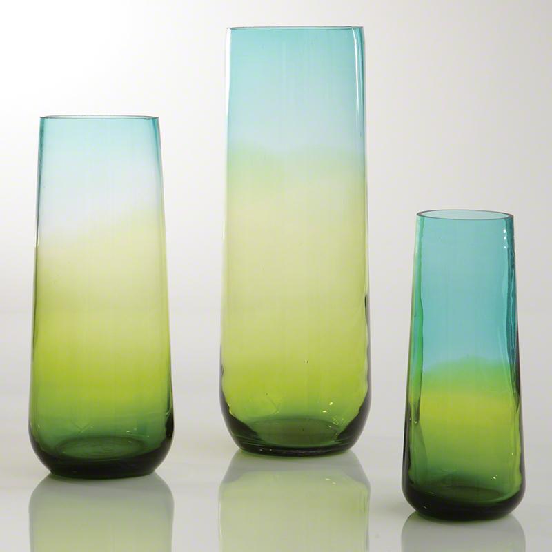 Ombre Taper Vase-Aqua/Green